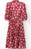 Red Short Sleeve Daisy Print Slim Dress