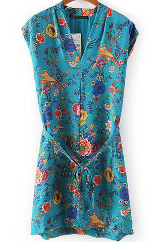 Blue V Neck Cap Sleeve Vintage Floral Dress