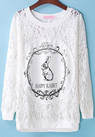 White Long Sleeve Embroidered Rabbit Print Blouse