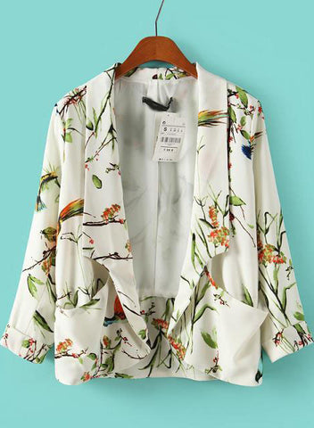 White Long Sleeve Birds Print Pockets Blazer