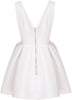 White V Neck Backless Midriff Flare Dress