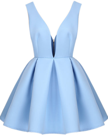 Blue V Neck Backless Midriff Flare Dress