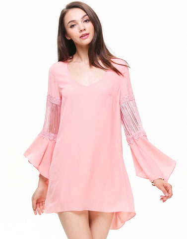 Pink Flare Long Sleeve Tassel Embellishment Hi-lo Dress