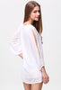 White Split Sleeve V Neck Loose Dress