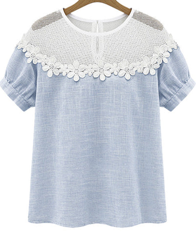 Blue Short Sleeve Lace Hollow Loose Blouse