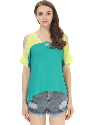 Green V Neck Off the Shoulder Chiffon Blouse