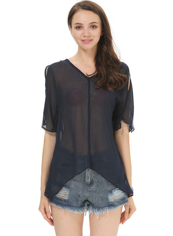 Black V Neck Off the Shoulder Sheer Chiffon Blouse