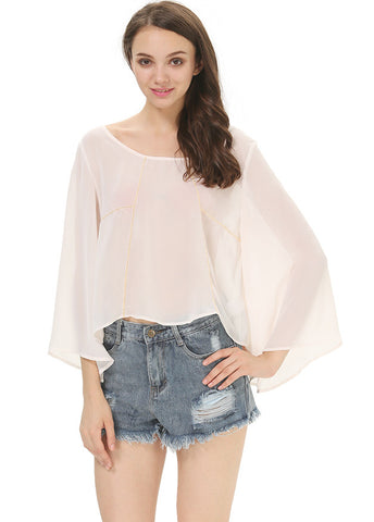 Beige Half Sleeve Backless Loose Chiffon Blouse