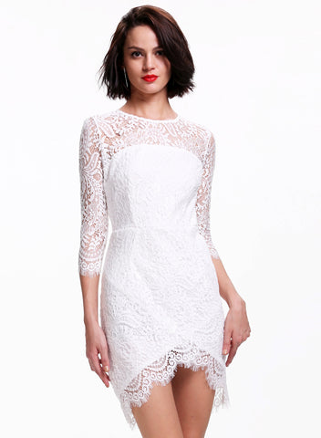White Long Sleeve Floral Crochet Bodycon Dress