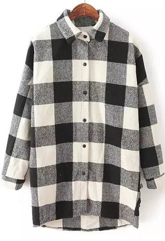 Black WhiteLapel Long Sleeve Plaid Loose Blouse
