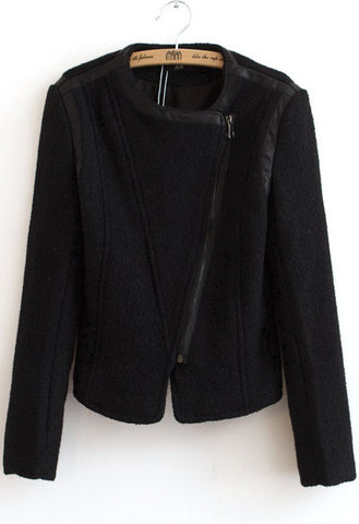 Black Long Sleeve Contrast PU Leather Crop Jacket