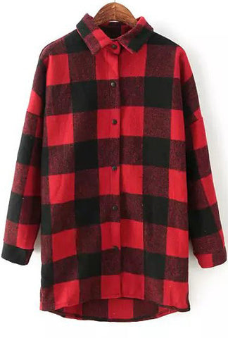 Red Black Lapel Long Sleeve Plaid Loose Blouse