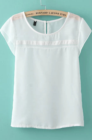 White Short Sleeve Chiffon Loose Blouse