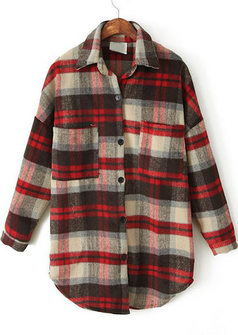Red Apricot Plaid Lapel Pockets Loose Blouse