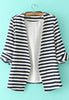 Navy White Striped Long Sleeve Fitted Blazer