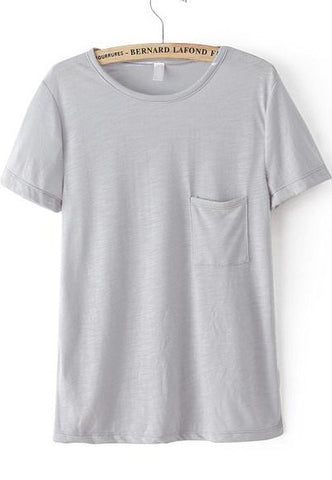 Grey Short Sleeve Pocket Loose T-Shirt