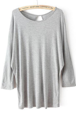 Grey Batwing Long Sleeve Hollow Loose T-Shirt