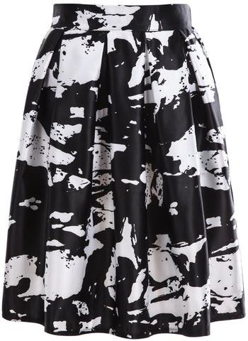 White Black Rose Print Pleated Skirt