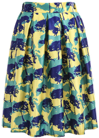 Green Yellow Trees Print Skirt
