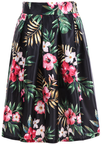 Black Floral Leaves Print Skirt