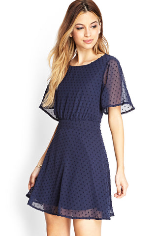 Blue Short Sleeve Backless Embroidered Dress