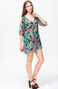 Green Split Sleeve V Neck Floral Chiffon Dress