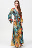 Multicolor V Neck Long Sleeve Floral Maxi Dress