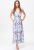 Blue Pink Criss Cross Backless Floral Dress