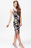 Black Spaghetti Strap Floral Bodycon Dress