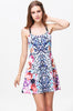 Blue PU Spaghetti Strap Leopard Backless Dress