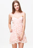 Pink Spaghetti Strap Applique Backless Dress