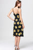 Black Spaghetti Strap Sunflower Print Backless Dress