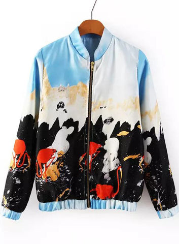 Blue Stand Collar Long Sleeve Graffiti Print Jacket