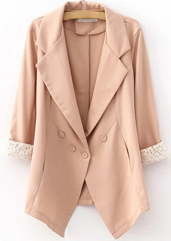 Pink Notch Lapel Long Sleeve Lace Blazer
