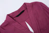 Wine Red V Neck Long Sleeve Pockets Blouse