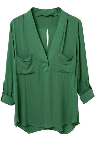 Green V Neck Long Sleeve Pockets Blouse
