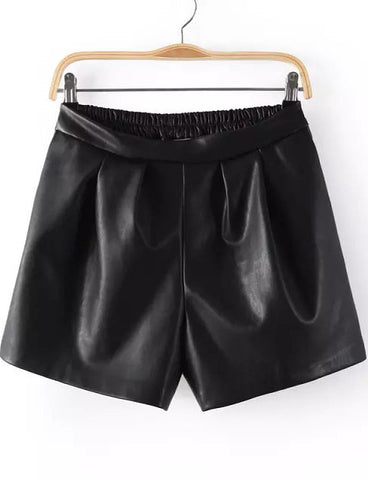 Black Elastic Waist Pocket PU Leather Shorts