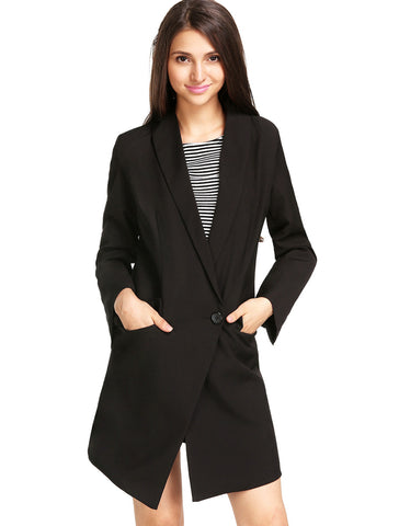 Black Lapel Long Sleeve Pockets Long Blazer