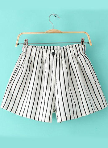 White Elastic Waist Vertical Stripe Shorts