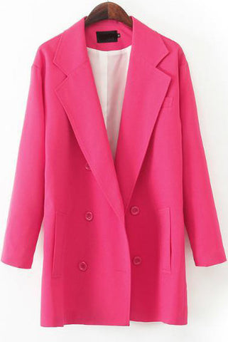 Red Notch Lapel Long Sleeve Pockets Blazer