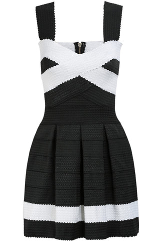 Black Sleeveless Striped Backless Pleated Dress