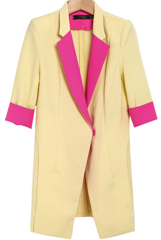 Yellow Contrast Lapel Long Sleeve Blazer