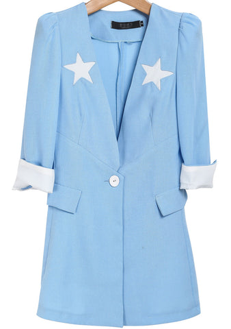 Blue Long Sleeve Stars Print Long Blazer