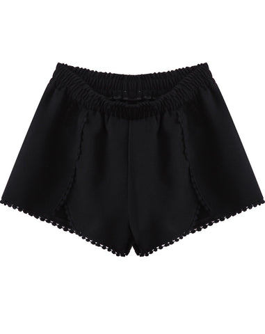 Black Elastic Waist Floral Crochet Trims Shorts