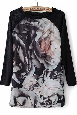 Black Long Sleeve Floral Loose T-Shirt