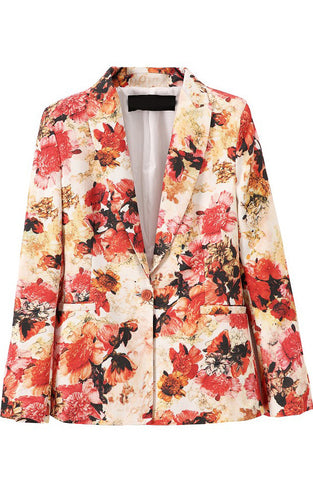 Red Notch Lapel Long Sleeve Floral Casual Blazer