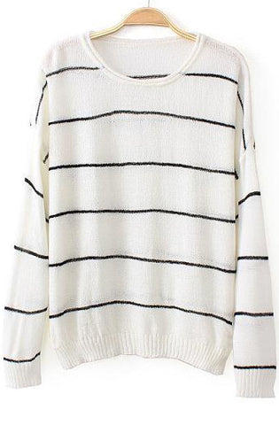 White Long Sleeve Striped Loose Knit Sweater
