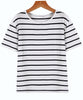 Navy White Short Sleeve Stripe Oversized Tee