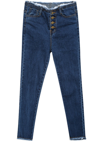 Blue Buttons Fringe Denim Pant