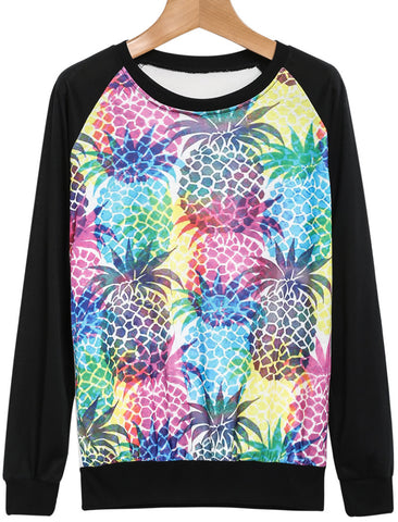 Black Long Sleeve Pineapple Print Sweatshirt